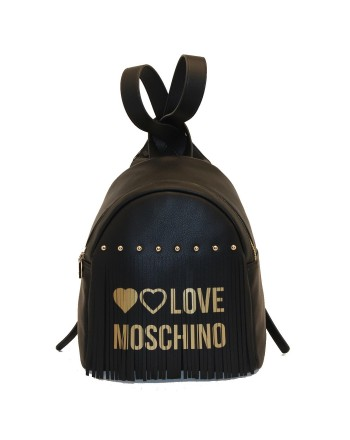 LOVE MOSCHINO - Zaino in ecopelle con frange - Nero/Oro