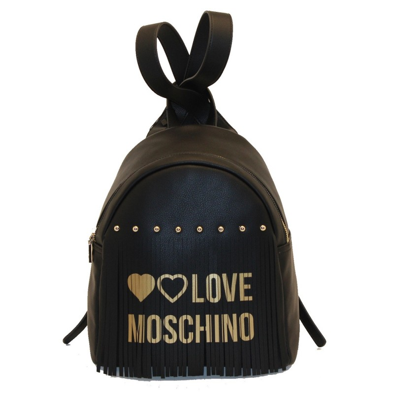 LOVE MOSCHINO - Ecoleather backpack with fringes - Black/Gold