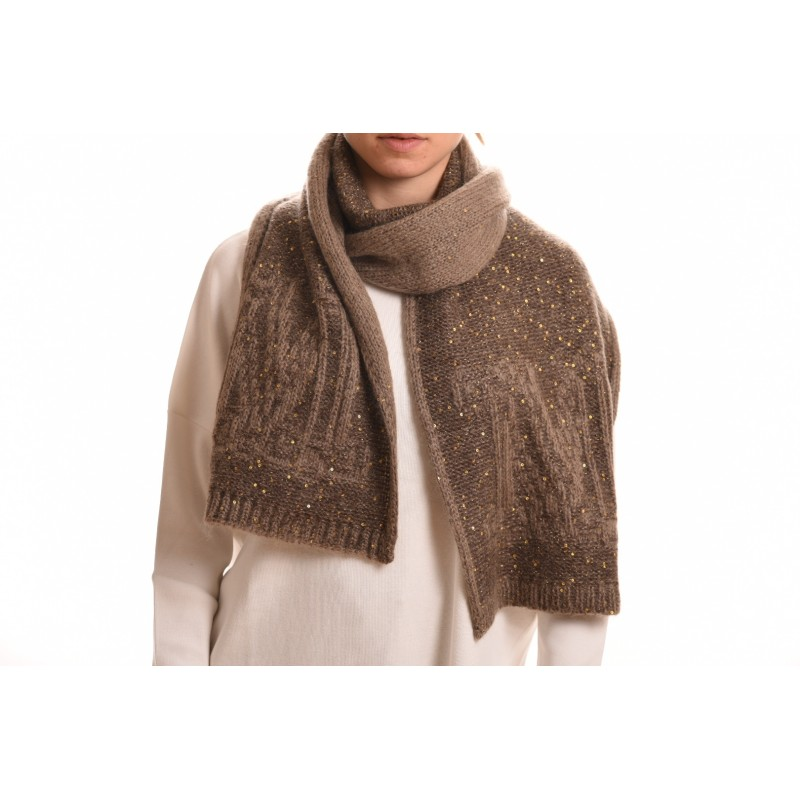 MAX MARA - Wool Scarf EBORI - Dark Brown