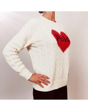 POLO RALPH LAUREN - Maglia in Cotone con Cuore Logo - Crema/Rosso