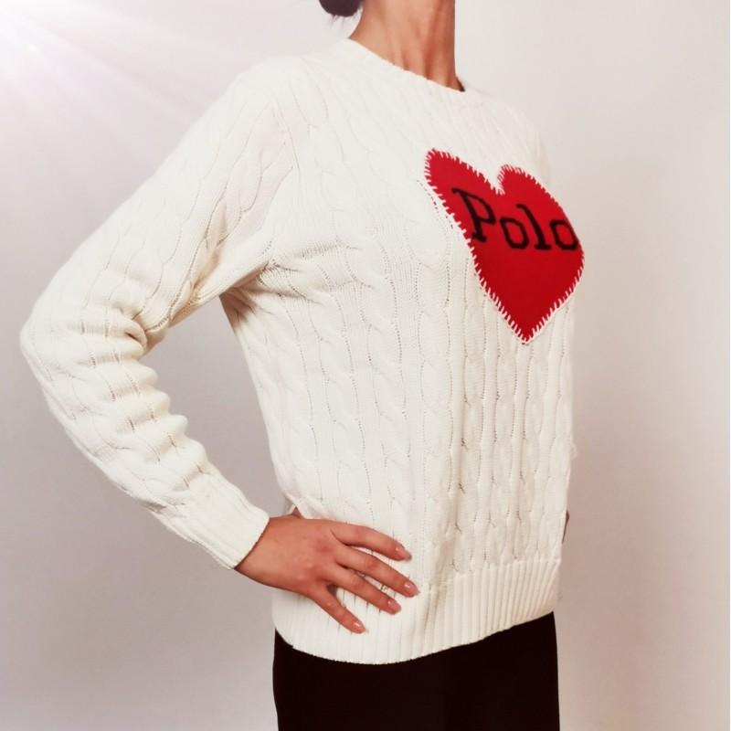 POLO RALPH LAUREN - Cotton Logo Heart Knit - Cream/Red