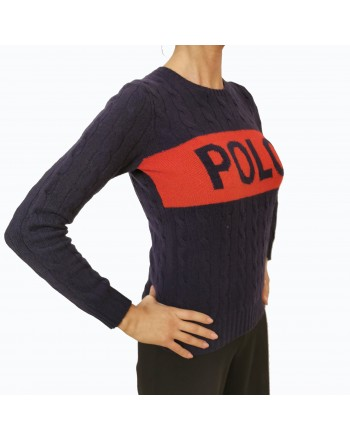 POLO RALPH LAUREN - Wool sweater with Loga embroidery - Red/Blue