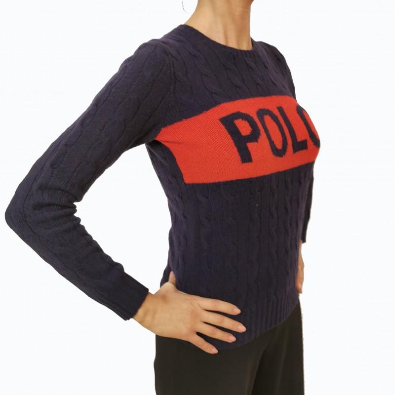 POLO RALPH LAUREN -  Maglia in lana con ricamo Logo - Blu/Red