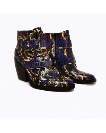 MADDEN GIRL - Texan Boots with Reptile Print - Blue Multisnake
