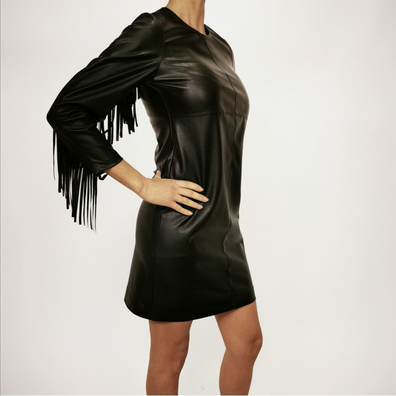 PINKO - BRANDY dress in leather with fringe - Black