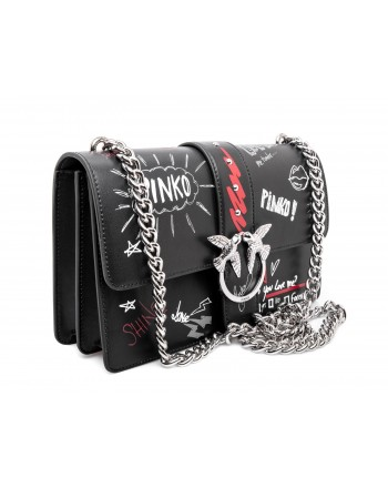 PINKO - Leather Shoulderstrap LOVE GRAFFITI Bag - Black/White/Red