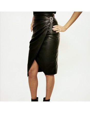PINKO - CAGLIARE ecoleather skirt - Black