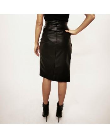 PINKO - CAGLIARE ecoleather skirt - Black