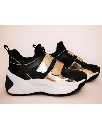 MICHAEL BY MICHAEL KORS - KEELEY TRAINER leather sneakers Black/Pale Gold