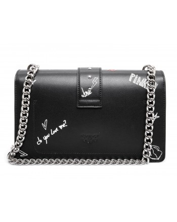 PINKO - Leather Shoulderstrap LOVE GRAFFITI Bag - Black/White/Red