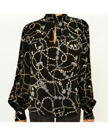 PINKO -  Georgette Shirt COMPLICI - Black/Gold