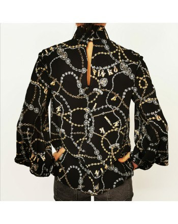 PINKO -  Georgette Shirt COMPLICI - Black/Gold