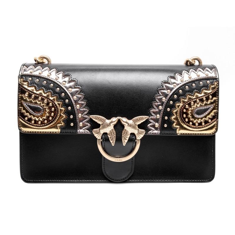 PINKO -Leather Bag LOVE PAISLAY - Black