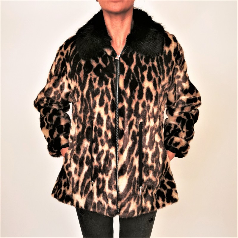 PINKO - Leopard print faux fur parka - Beige/Brown