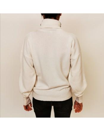 PINKO - MARINAIO Pullover with raised collar White