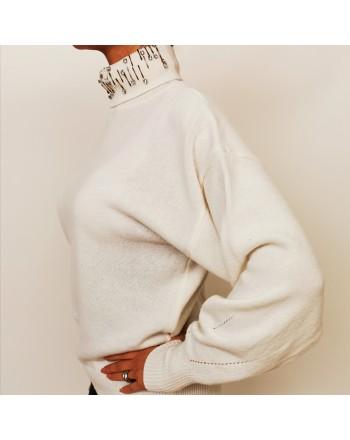 PINKO - Pullover in cashmere a collo alto - Bianco