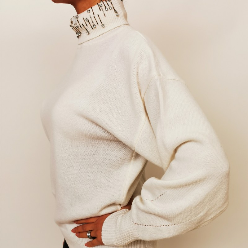 PINKO - Pullover with raised collar White