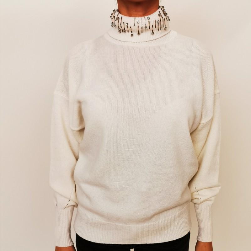 PINKO - Pullover in cashmere a collo alto MARINAIO - Bianco