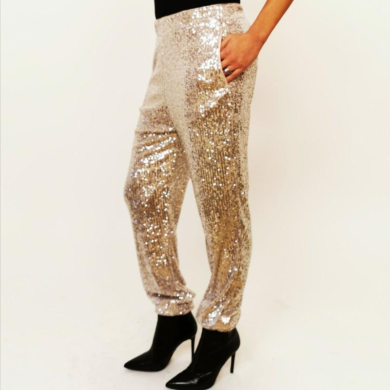 PINKO - Full paillettes trouser - Platinum