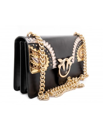 PINKO - Borsa in Pelle MINI LOVE PAISLAY - Nero