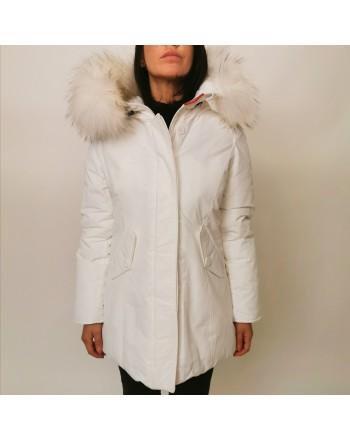 FREEDOMDAY - Fur Hood Jacket NEW CHAMOIS - White