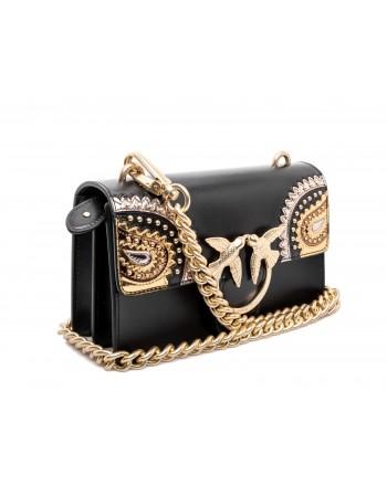 PINKO - Leather Bag MINI LOVE PAISLAY - Black