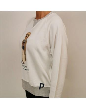 POLO RALPH LAUREN - Cotton BEAR Printed Sweatshirt - Cream/Grey