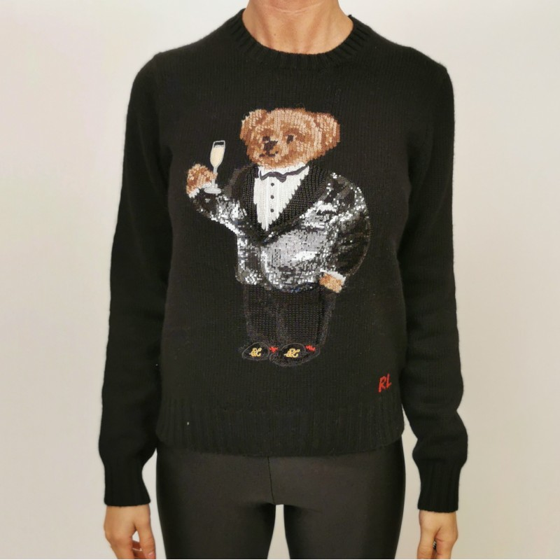 POLO RALPH LAUREN -Wool Polo Bear with Paillettes Knit - Black