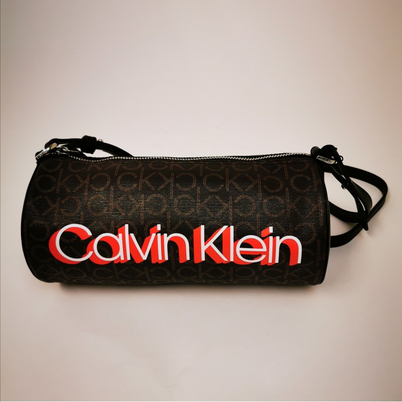 CALVIN KLEIN - Monogram Bowler bag in leather - Brown