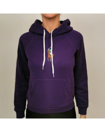 POLO RALPH LAUREN - Felpa in Cotone con Cappuccio e Logo Frontale - Purple