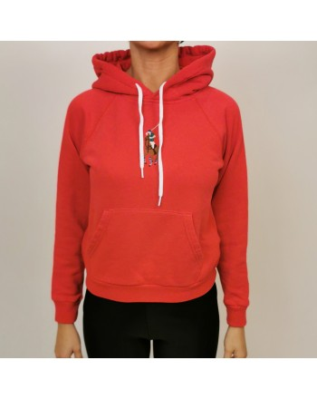 POLO RALPH LAUREN - Cotton Hood Sweatshirt with Front Logo - Rosso