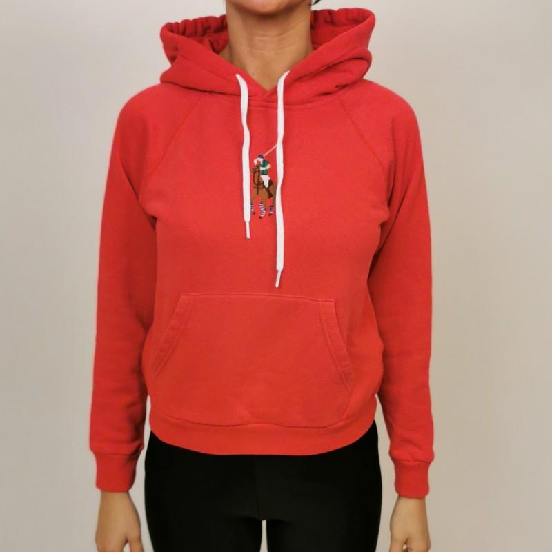 POLO RALPH LAUREN - Felpa in Cotone con Cappuccio e Logo Frontale - Rosso