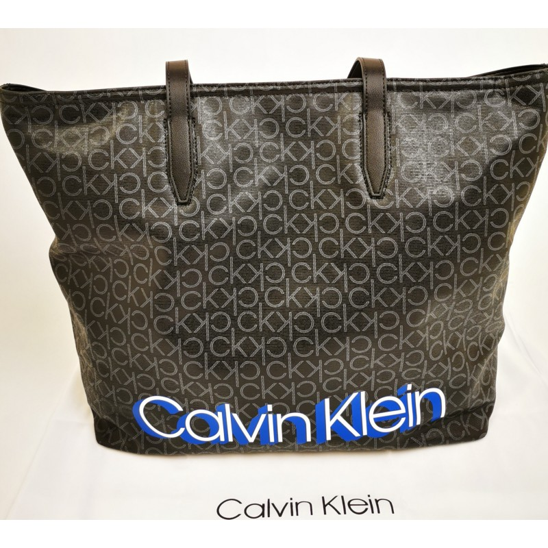 CALVIN KLEIN - Borsa Shopping Monogram in pelle - Nero