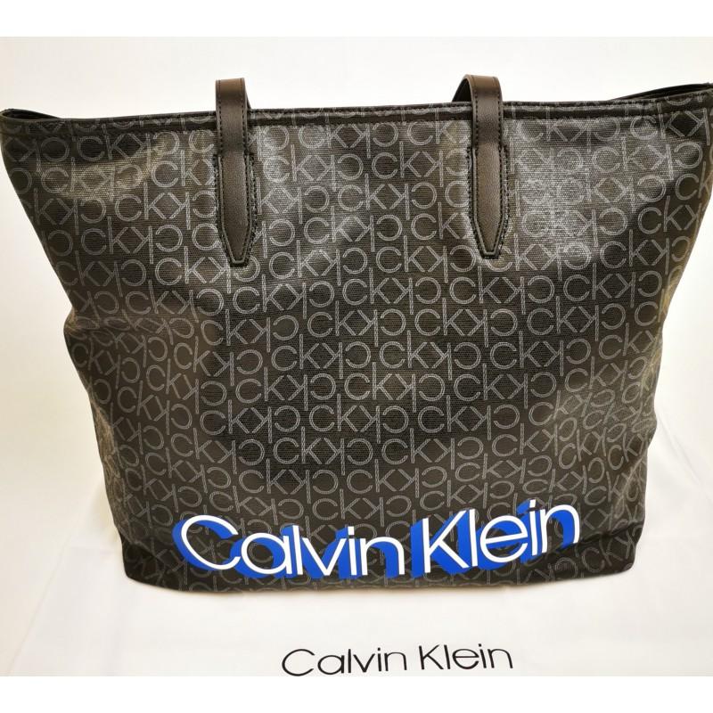 CALVIN KLEIN - Leather Monogram shopping bag - Black