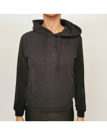 POLO RALPH LAUREN - Cotton Hood Sweatshirt with Paillettes Logo - Black