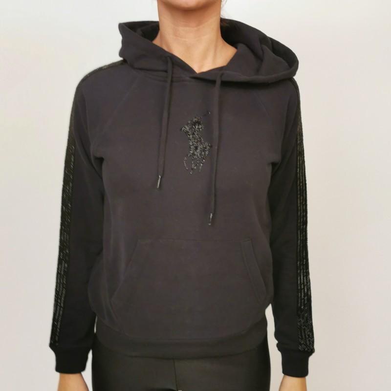POLO RALPH LAUREN - Cotton Hood Sweatshirt with Paillettes Logo - Black