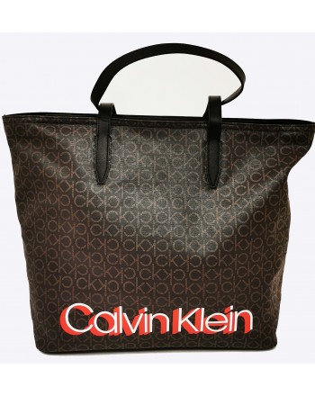CALVIN KLEIN - Leather Monogram shopping bag - Brown