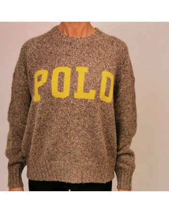 POLO RALPH LAUREN - Wool POLO KNIT - Tan Donegal/Yellow