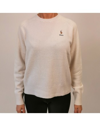 POLO RALPH LAUREN - Horse Logo wool sweater - Crem
