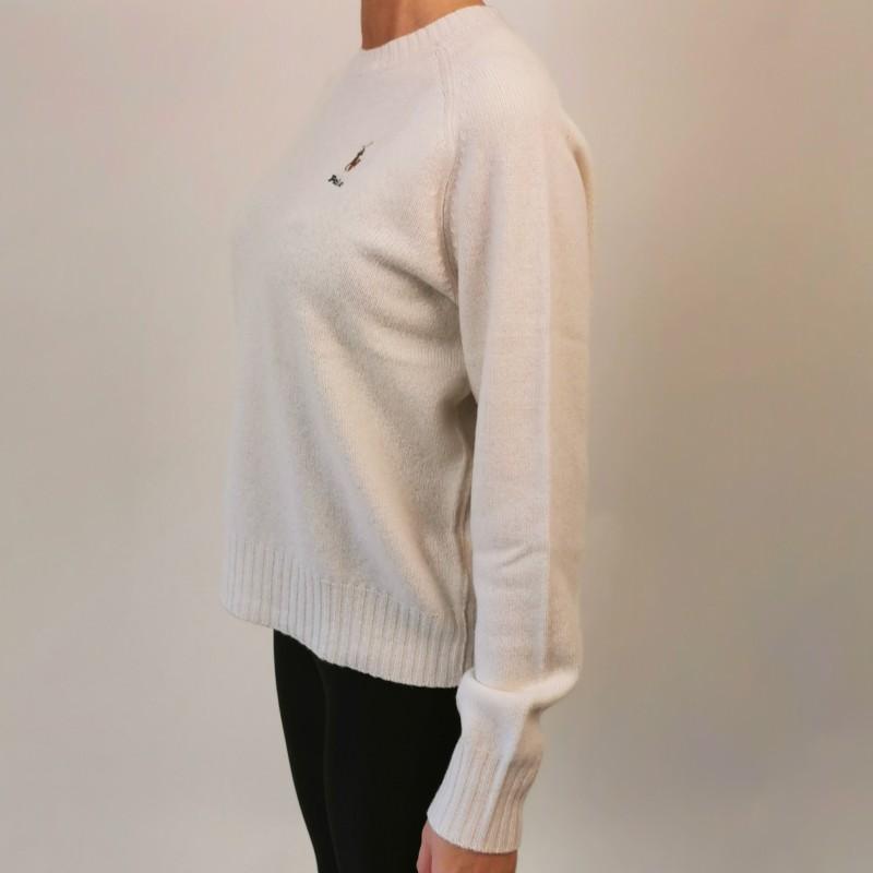 POLO RALPH LAUREN -  Maglione Logo Cavallo in lana - Crema