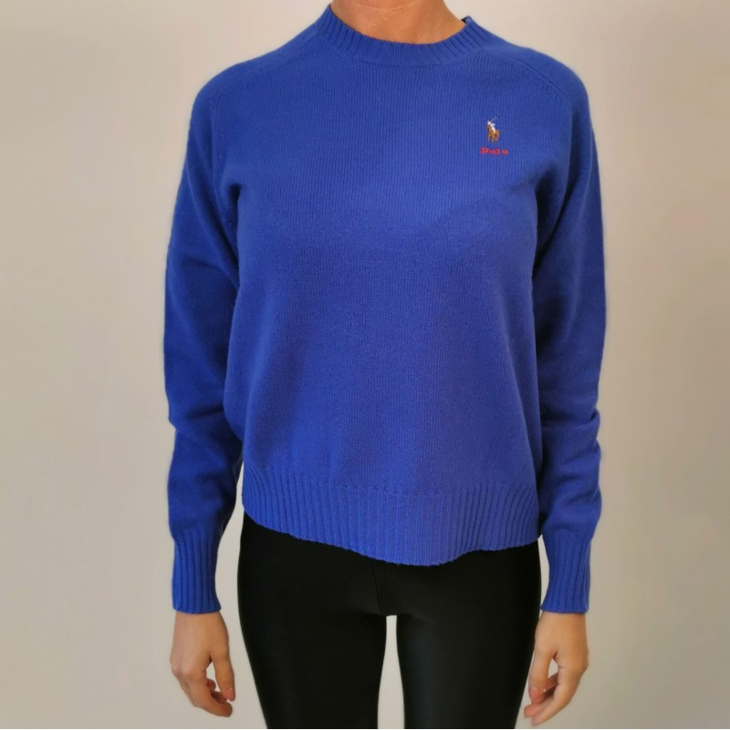 POLO RALPH LAUREN - Horse Logo wool sweater - Maidstone Blue