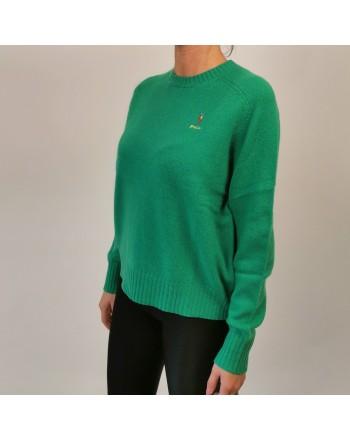 POLO RALPH LAUREN -  Maglione Logo Cavallo in lana - Stem Green