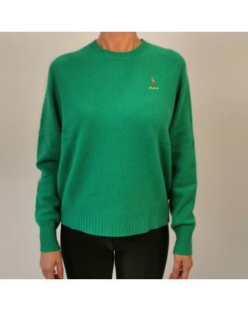 POLO RALPH LAUREN - Horse Logo wool sweater - Stem Green