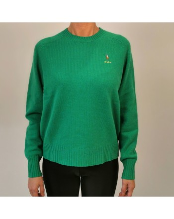 POLO RALPH LAUREN -  Maglione Logo Cavallo in lana - Stem Green