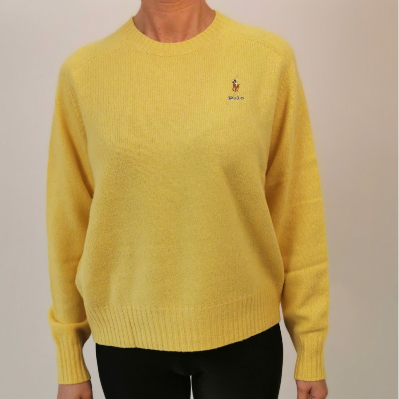 POLO RALPH LAUREN -  Maglione Logo Cavallo in lana - Yellow