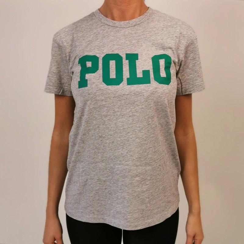 POLO RALPH LAUREN -  T-Shirt  stampa POLO in cotone  - Grigio