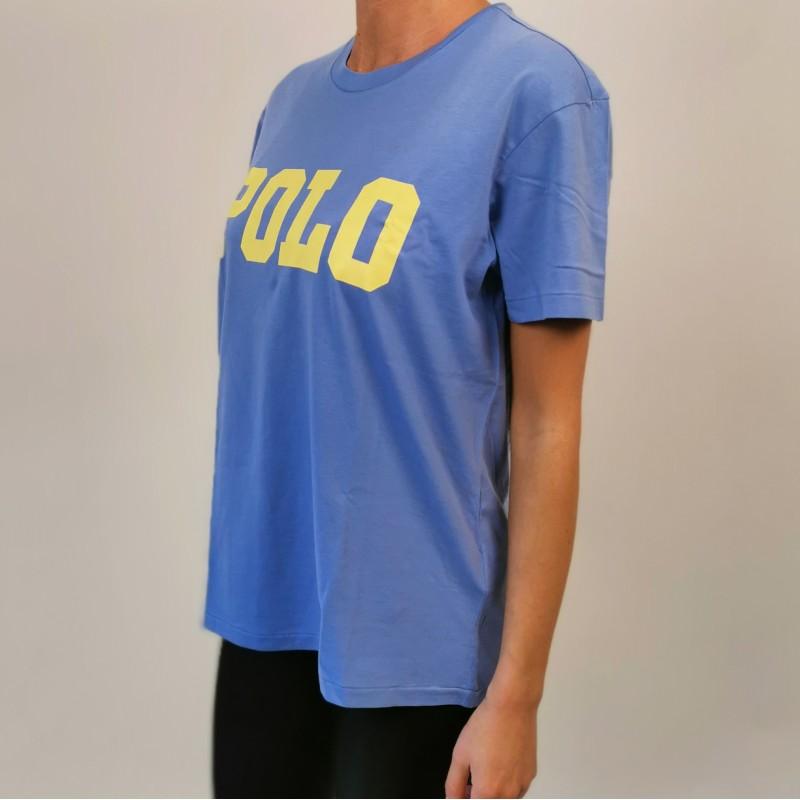POLO RALPH LAUREN - POLO print cotton t-shirt - Lake Blue