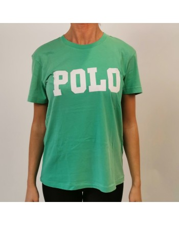 POLO RALPH LAUREN -  T-Shirt  stampa POLO in cotone - Verde