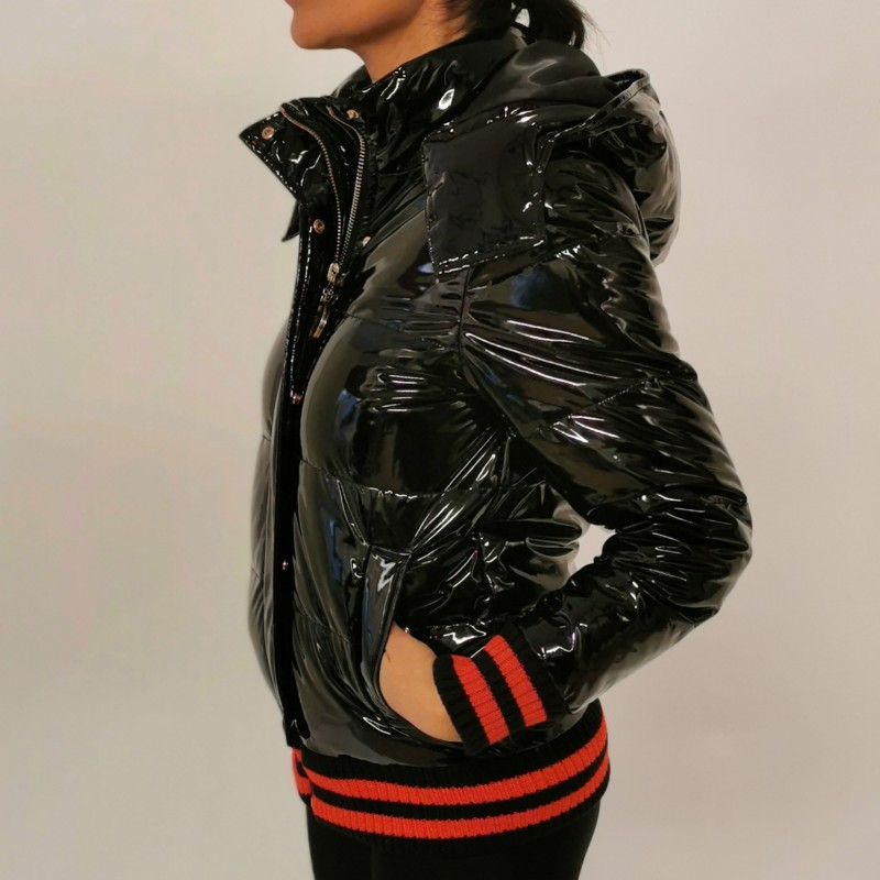 FRANKIE MORELLO - BOMBER faux leather jacket - Black
