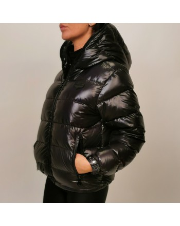 DUVETICA -  KUMA Quilted short jacket with hood - Black